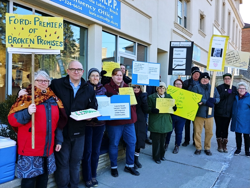 n Monday Perry had led a small group to protestin front of Scott's office