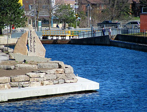 Fenelon Falls Sign with locks in the background