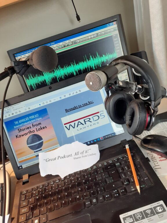 laptop and recording equipment for the advocate podcast