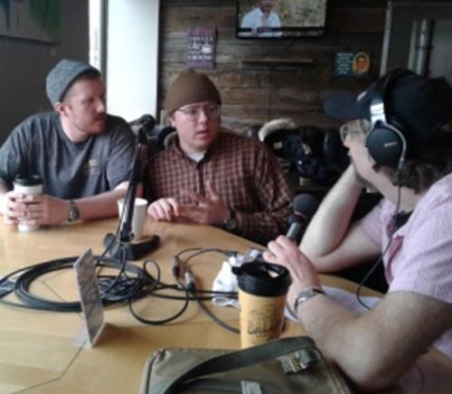 Denis Grignon interviewing 2 guests
