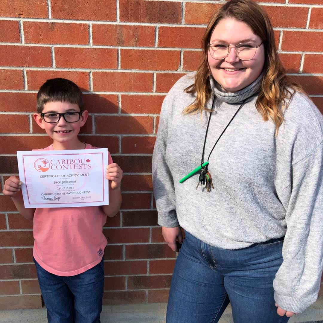 Jace Jolicoeur, winner of the Caribou Math Contest and Courtney Greig, Teacher