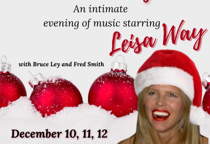 Poster that reads Cocktails and Candy Canes, with a picture of Leisa Way